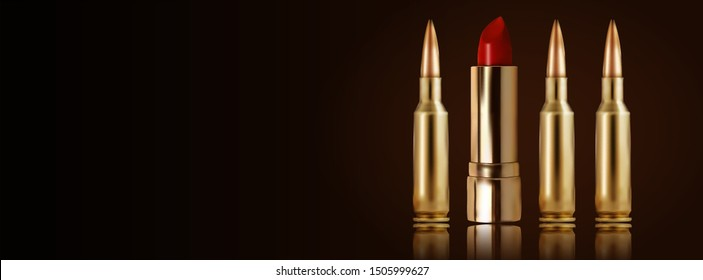 Lipstick and ammunition in line. Horizontal banner or cover. Feminine background for huntress or woman soldier.