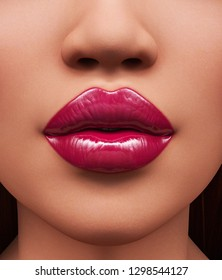 Lipstick,Portrait of woman with beautiful lips ,3d rendering