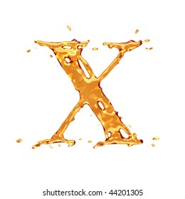Liquid alcohol alphabet  - letter X - color of brandy , cognac, liquor, cola, beer or tea