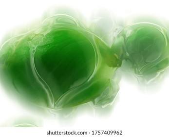 fondo líquido, gotas verdes sobre fondo blanco