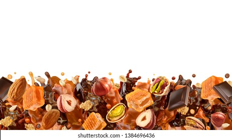 Liquid dark chocolate, sweet caramel sauce swirls splashes, pistachios, almonds, hazelnuts, cereals. Сombination of caramel, chocolate hazelnuts almonds flavors. Banner design, copy space. 3D render