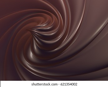Liquid dark chocolate swirl, abstract background