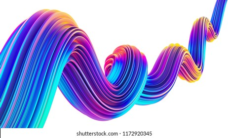 Liquid design twisted shape in holographic neon colors. 3D design element for Christmas and party backgrounds. 3D rendering.