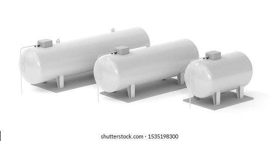 Liquid gas tanks - large, medium and small (3D Rendering)