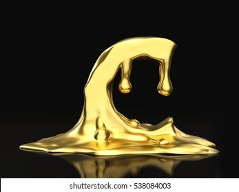 Liquid gold letter C on a black background. 3D illustration.