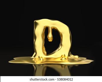 Liquid gold letter D on a black background. 3D illustration.