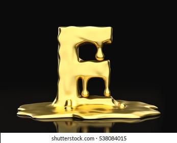 Liquid gold letter E on a black background. 3D illustration.