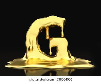 Liquid gold letter G on a black background. 3D illustration.