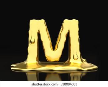 Liquid gold letter M on a black background. 3D illustration.
