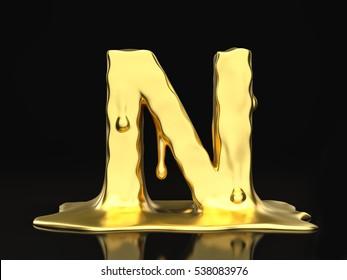 Liquid gold letter N on a black background. 3D illustration.