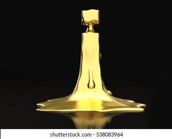 Liquid gold letter I on a black background. 3D illustration.