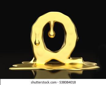 Liquid gold letter Q on a black background. 3D illustration.