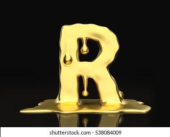 Liquid gold letter R on a black background. 3D illustration.