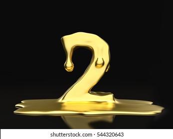 Liquid gold number 2 on a black background. 3D illustration.