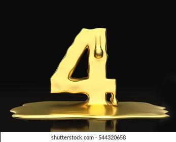 Liquid gold number 4 on a black background. 3D illustration.
