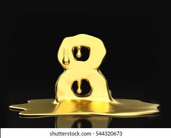 Liquid gold number 8 on a black background. 3D illustration.