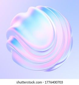 Liquid metal 3D shape design element. Fluid gradient shape with waves and ripples. Bright iridescent holographic foil. 3d rendering.