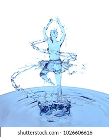 Liquid splash of blue fresh water in woman or girl dancing ballerina form, isolated on white background, design concept, 3d rendering illustration