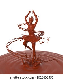 Liquid splash of chocolate cream in woman or girl dancing ballerina form, isolated on white background, design concept, 3d rendering illustration