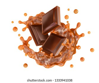 Liquid sweet caramel sauce swirls splashing twisted and chocolate pieces bars. Сombination of caramel and chocolate flavors. Yummy liquid choco toffee template design element. Clipping path. 3D render