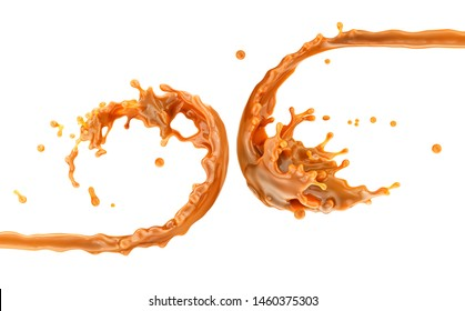 Liquid sweet melted caramel, delicious caramel sauce or maple syrup swirl 3D splash. Yummy sweet caramel sauce or hot syrup twisted. Key visual advertising design elements isolated on white background