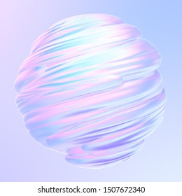 Liquid twisted holographic 3D shape. Fluid design element. Abstract holographic background. 3d rendering.