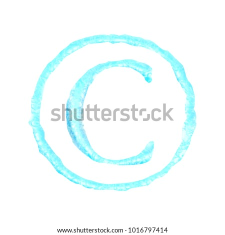 Liquid Water Style Copyright Symbol C Stock Illustration Royalty