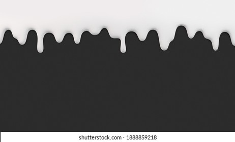 Liquid white cream melting and flowing down on black background. 3D rendered image