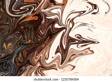 Liquify Abstract Pattern With Brown Graphics Color Art Form. Digital Background With Liquifying Flow