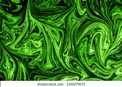 Liquify Abstract Pattern With UFO Green And Black Graphics Color Art Form. Digital Background With Liquifying Poisonous UFO Green Flow