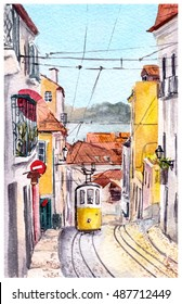 Lisbon (Lisboa) - view of street with tram and buildings. Watercolor