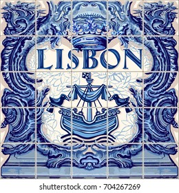 Lisbon Portugal ceramic tiles Portuguese symbol lapis blue illustration