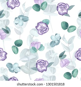 Lisianthus and eucalyptus watercolor seamless pattern. Eustoma flovers and eucalyptus leaves hand painted seamless background.