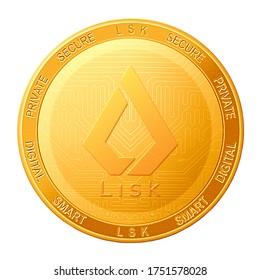 LISK coin isolated on white background; LISK LSK cryptocurrency. 3d illustration