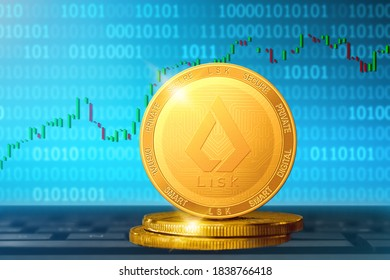 Lisk cryptocurrency; Lisk LSK golden coin on the background of the chart