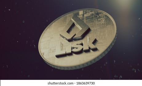 Lisk cryptocurrency symbol. Cryptocurrency coin 3D illustration