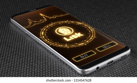 Lisk cryptocurrency symbol on mobile app screen. Price graph, buy and sell buttons. 3D illustration