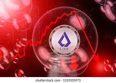 Lisk (LSK) coin in a soap bubble. Risks and dangers of investing to lisk. Collapse of the exchange rate. Unstable concept