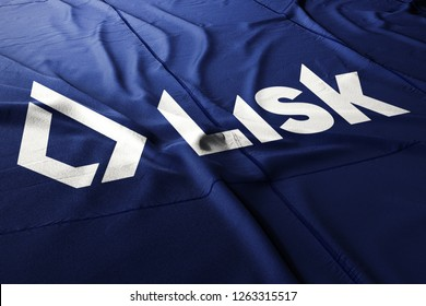 Lisk LSK cryptocurrency flag illustration 3d realistic render