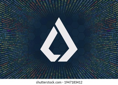 Lisk, LSK  cryptocurrency symbol. A tunnel from a computer program code. Programmer Strings of code, Javascript, CSS and PHP. Hacking coding concept. Source code for software.