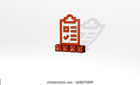 list 3D icon object on text of cubic letters, 3D illustration