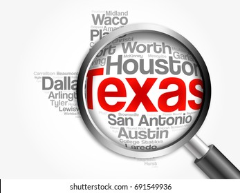 List of cities in Texas USA state word cloud map with magnifying glass, concept 3D illustration