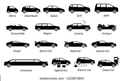 List of different types of car icons. Set icon of cars, transportation, vehicles from different segments and types in simple silhouette black pictogram. Side view of many type of cars.