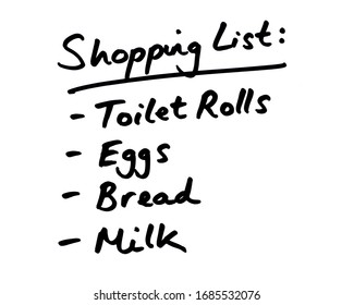 A list of essential supplies on a Shopping List.