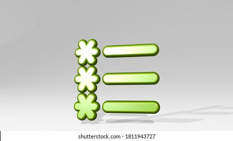 LIST STARS 3D icon casting shadow, 3D illustration