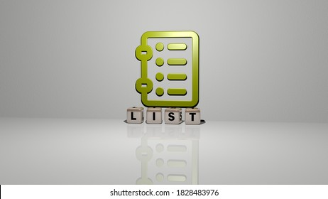 list text of cubic dice letters on the floor and 3D icon on the wall, 3D illustration