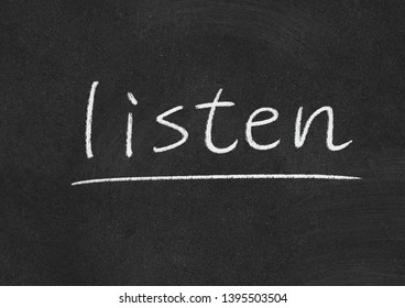 listen concept word on a blackboard background