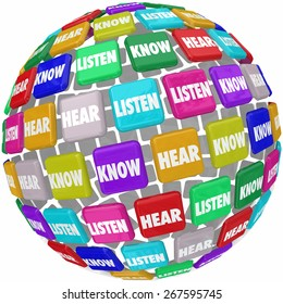 Listen, Hear and Know words on tiles in a globe or world 3d shape to illustrate the need to pay atention to absorb and learn information in education and training