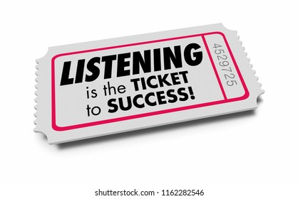 Listening Hearing Learning Ticket to Success 3d Illustration