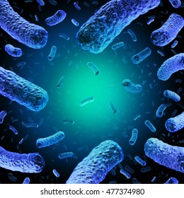 Listeria medical concept as a group of dangerous bacteria causing illness as a health care symbol for microscopic bacterial infection as a 3D illustration.